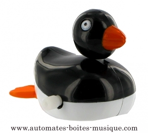 Swimming and mechanical automaton : black duck made of plastic with winding key - Item# for this swimming and mechanical automaton : 1002-NOIR
