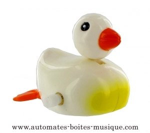 Swimming and mechanical automaton : white duck made of plastic with winding key - Item# for this swimming and mechanical automaton : 1002-BLANC