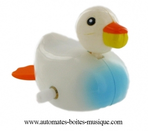 Swimming and mechanical automaton : white and blue duck made of plastic with winding key - Item# for this swimming and mechanical automaton : 1002-BLANC-BLEU