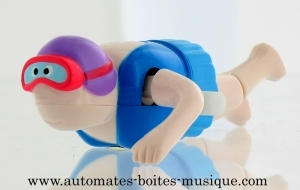 Swimmer automaton made of plastic with purple swimming cap - Item # for this swimmer automaton: AHN-02