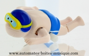 Swimmer automaton made of plastic with blue swimming cap - Item # for this swimmer automaton: AHN-03