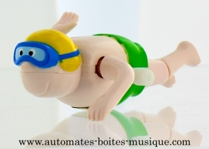 Swimmer automaton made of plastic with yellow swimming cap - Item # for this swimmer automaton: AHN-04