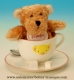 Musical automaton: musical Teddy bear automaton sitting in a porcelain cup with traditional 18 note musical mechanism - Item# for this musical automaton: 20257