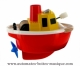 Floating boat automaton made of plastic with traditional rewind key - Item # for this floating boat automaton : 1046-ROUGE
