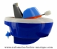 Floating boat automaton made of plastic with traditional rewind key - Item # for this floating boat automaton : 1046-BLEU