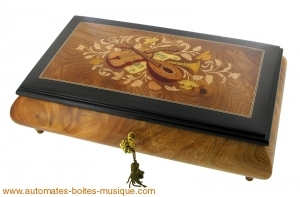 Musical jewelry box made of wood with traditional 18 note musical mechanism - Item # for this musical jewelry box: 85731