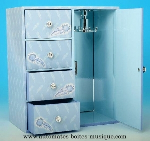 Musical jewelry box wardrobe with traditional 18 note musical mechanism - Item # for this musical jewelry box wardrobe : 22104