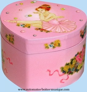 Trousselier musical jewelry box made of wood with dancing ballerina and traditional 18 note musical mechanism - Item # for this Trousselier musical jewelry box : 10-113