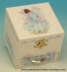 Musical jewelry box made of wood with dancing ballerina and traditional 18 note musical mechanism - Item # for this musical jewelry box : 28010