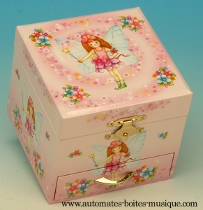 Musical jewelry box made of wood with dancing ballerina and traditional 18 note musical mechanism - Item # for this musical jewelry box : 28025