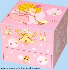 Trousselier musical jewelry box with traditional 18 note musical mechanism - Item # for this Trousselier musical jewelry box : 20-701