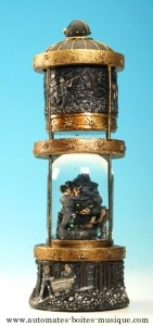 Musical snow globe made of polystone with traditional 18 note musical mechanism - Item # for this musical snow globe : 14103