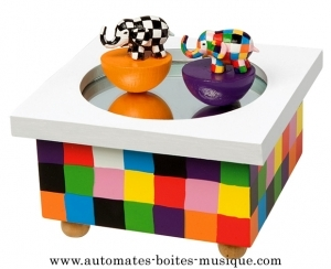 Trousselier music box: Trousselier animated music box with Elmer the elephant.
