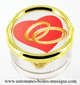 Saint Valentine's paper weight music box with traditional spring 18 note musical mechanism - Item # for this Saint Valentine's music box: PL.18.06