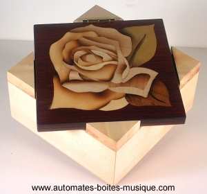 Wooden music box with traditional 18 note musical mechanism - Item # for this traditional music box made of wood : P6