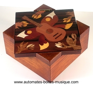 Wooden music box with traditional 18 note musical mechanism - Item # for this traditional music box made of wood : P1