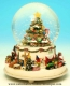 Musical Christmas snow globe made of polystone with traditional 18 note musical mechanism - Item# for this Christmas musical snow globe : 48028