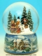 Christmas musical snow globe made of resin with traditional 18 note musical mechanism - Item# for this Christmas musical snow globe : 48039