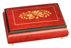 Lutèce Créations musical jewelry box made of wood with traditional 18 note musical mechanism - Item # for this Lutèce Créations musical jewelry box : IM.18.1603