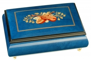 Lutèce Créations musical jewelry box made of wood with traditional 18 note musical mechanism - Item # for this Lutèce Créations musical jewelry box : IM.18.1602