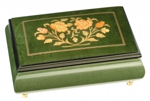 Lutèce Créations musical jewelry box made of wood with traditional 18 note musical mechanism - Item # for this Lutèce Créations musical jewelry box : FL.18.1601-2