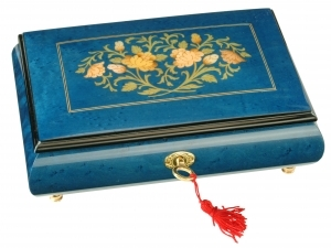 Lutèce Créations musical jewelry box made of wood with traditional 18 note musical mechanism - Item # for this Lutèce Créations musical jewelry box : FL.18.7002