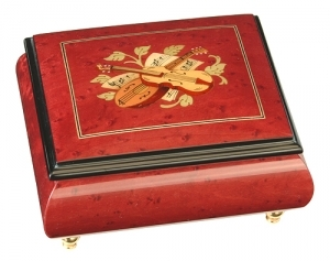 Musical ring box made of wood by Lutèce Créations with traditional 18 note musical mechanism - Item # for this Lutèce Créations musical ring box : IM.18.4103
