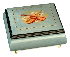 Musical ring box made in France by Lutèce Créations with traditional 18 note musical mechanism - Item # for this Lutèce Créations musical ring box : IM.18.4104