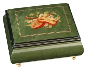 Musical ring box made in France by Lutèce Créations with traditional 18 note musical mechanism - Item # for this Lutèce Créations musical ring box : IM.18.4106