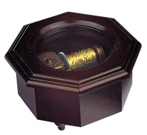 Swiss music box made of wood with traditional 18 note musical mechanism - Item # for this swiss music box : 2096401