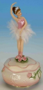 Musical ballerina automaton with traditional 18 note spring musical mechanism - Item# for this musical automaton : 25082