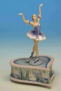 Musical dancing ballerina automaton with traditional 18 note spring musical mechanism - Item# for this musical automaton : 25116