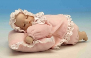 Musical newborn automaton made of porcelain with traditional 18 note musical automaton - Item# for this musical automaton : 20226