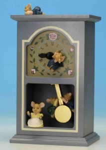 Musical automaton with mice and with traditional 18 note spring musical mechanism - Item# for this musical automaton : 44011