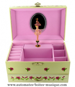 Musical jewelry box made of wood with dancing ballerina and traditional 18 note musical mechanism - Item # for this musical jewelry box : 22047