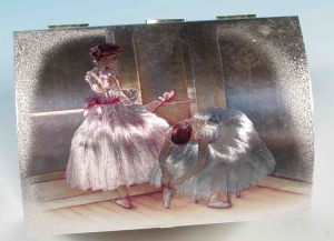 Musical jewelry box made of wood with dancing ballerina and traditional 18 note musical mechanism - Item # for this musical jewelry box : 28017
