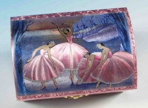 Musical jewelry box made of wood with dancing ballerina and traditional 18 note musical mechanism - Item # for this musical jewelry box : 28018