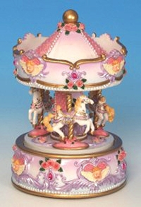 Miniature musical carousel made of resin with traditional 18 note musical mechanism - Item # for this miniature musical carousel : 14048