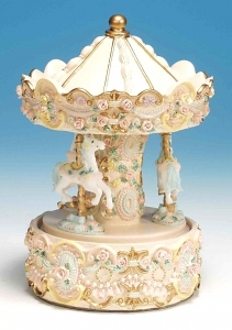 Miniature musical carousel made of polystone with traditional 18 note musical mechanism - Item # for this miniature musical carousel : 14058