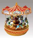 Carrousel musical miniature Mr Christmas avec mécanisme musical électronique - Référence carrousel musical miniature Mr Christmas : 19870