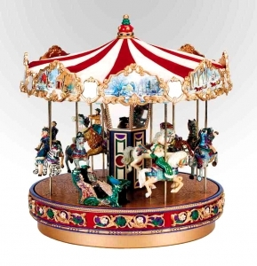 Mr Christmas miniature musical carousel made of resin and fabric with electronic musical mechanism - Item # for this Mr Christmas miniature musical carousel : 79178