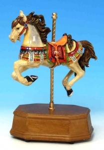 Animated musical automaton horse made of resin and wood with traditional 18 note musical mechanism - Item # for this musical automaton horse : 14026