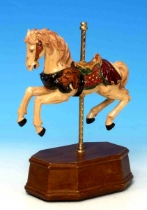 Animated musical automaton horse made of resin and wood with traditional 18 note musical mechanism - Item # for this musical automaton horse : 14024