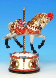 Animated musical automaton horse made of resin with traditional 18 note musical mechanism - Item # for this musical automaton horse : 14030