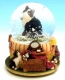 Musical snow globe made of polystone with traditional 18 note spring musical mechanism - Item # for this musical snow globe: 43612