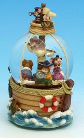 Musical snow globe made of polystone with traditional 18 note spring musical mechanism - Item # for this musical snow globe : 25026