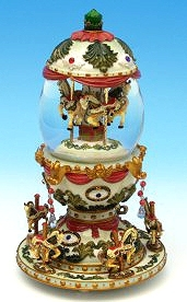 Musical snow globe made of resin with traditional 18 note spring musical mechanism - Item # for this musical snow globe : 14047