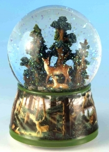 Musical snow globe made of resin with traditional 18 note spring musical mechanism - Item # for this musical snow globe : 46068