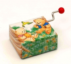Hand cranked music box made of carton (18 note musical mechanism) - Item# for this hand cranked music box : 22022