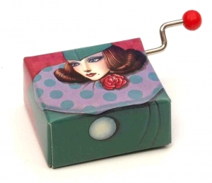 Hand cranked music box made of carton (18 note musical mechanism) - Item# for this hand cranked music box : 22033